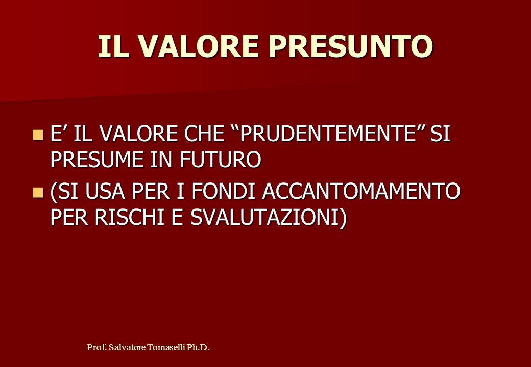 Prof. Salvatore Tomaselli Ph.D. IL COSTO STORICO E' IL VALORE CHE COINCIDE CON QUELLO NOMINALE AL MOMENTO DELL'ACQUISIZIONE DEL BENE E' IL VALORE CHE