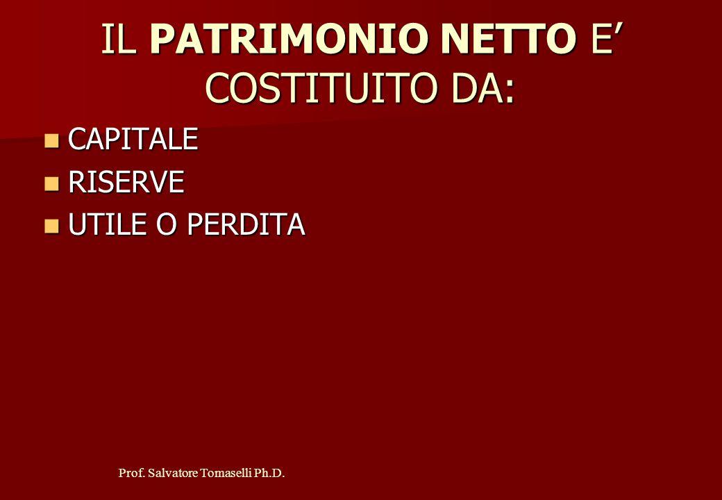 Prof. Salvatore Tomaselli Ph.D. IL PASSIVO COMPRENDE: PATRIMONIO NETTO PATRIMONIO NETTO FONDI PER RISCHI ED ONERI FONDI PER RISCHI ED ONERI TFR TFR DE