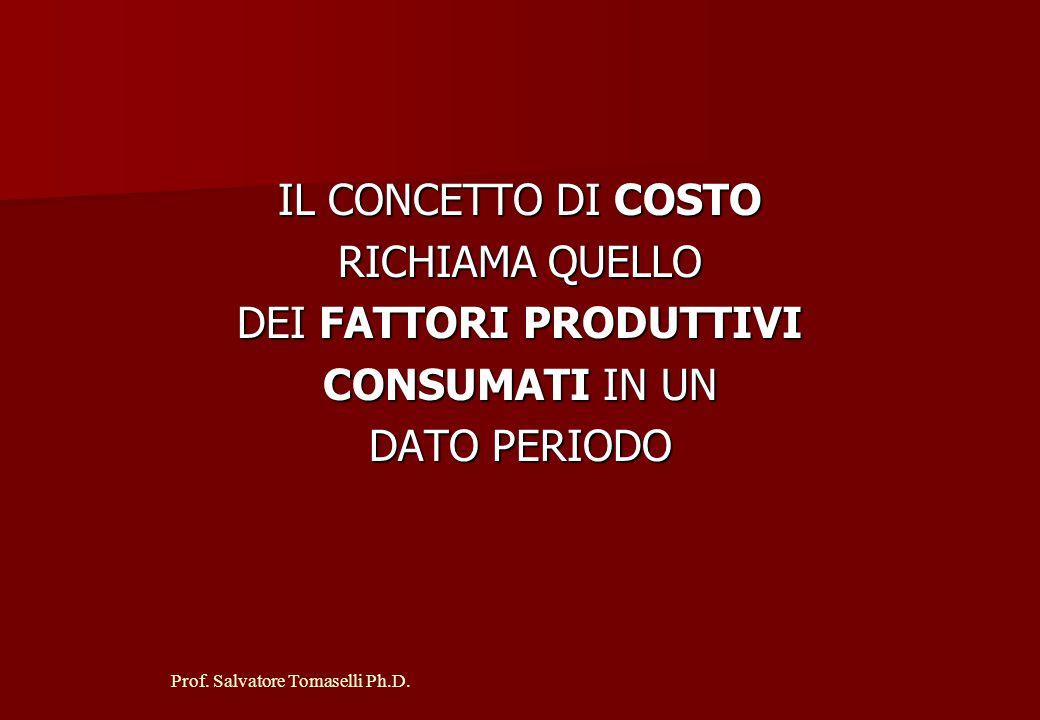 Prof. Salvatore Tomaselli Ph.D. IL CONTO ECONOMICO SI FONDA SUI CONCETTI DI COSTO DI COSTOE DI RICAVO