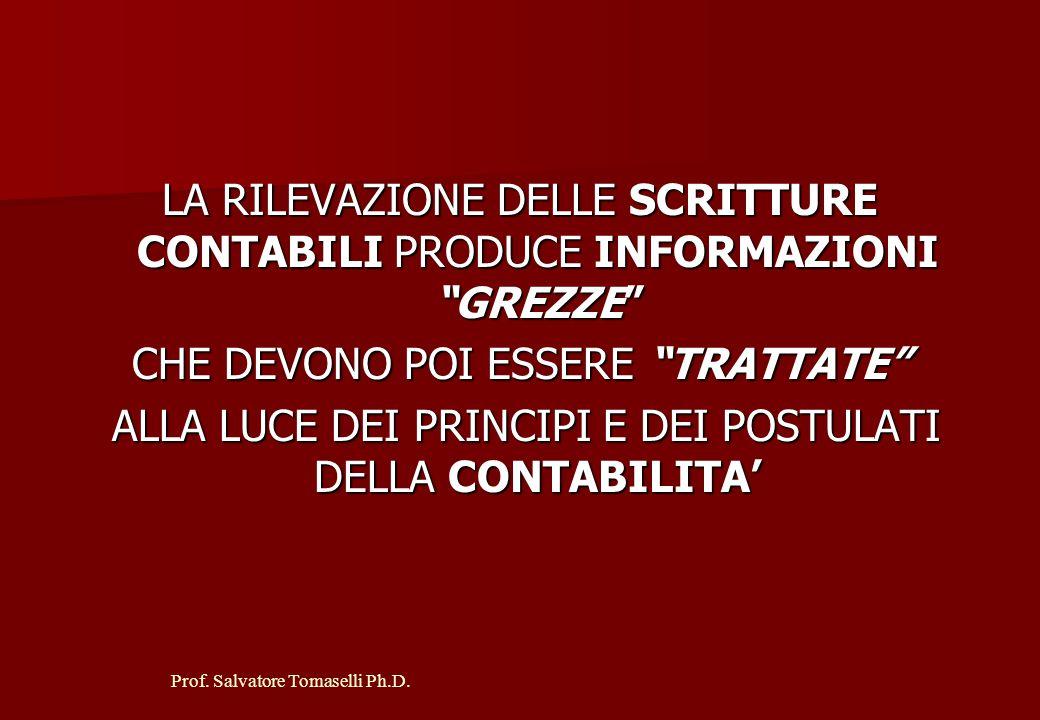 Prof. Salvatore Tomaselli Ph.D. LE RILEVAZIONI CONTABILI DERIVANO TEMPORALMENTE DALLA MANIFESTAZIONE NUMERARIA DEL FATTO AZIENDALE