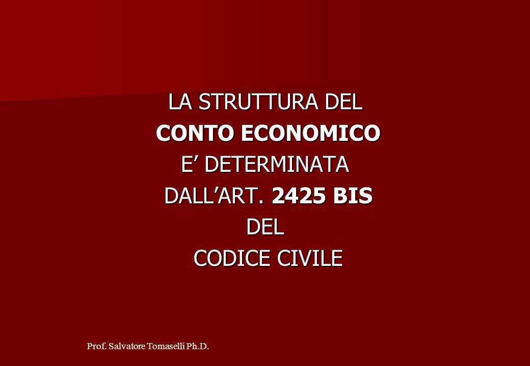 Prof. Salvatore Tomaselli Ph.D. IL CONTO ECONOMICO A STRUTTURA LOGICA COSTIRICAVI Esercizio x