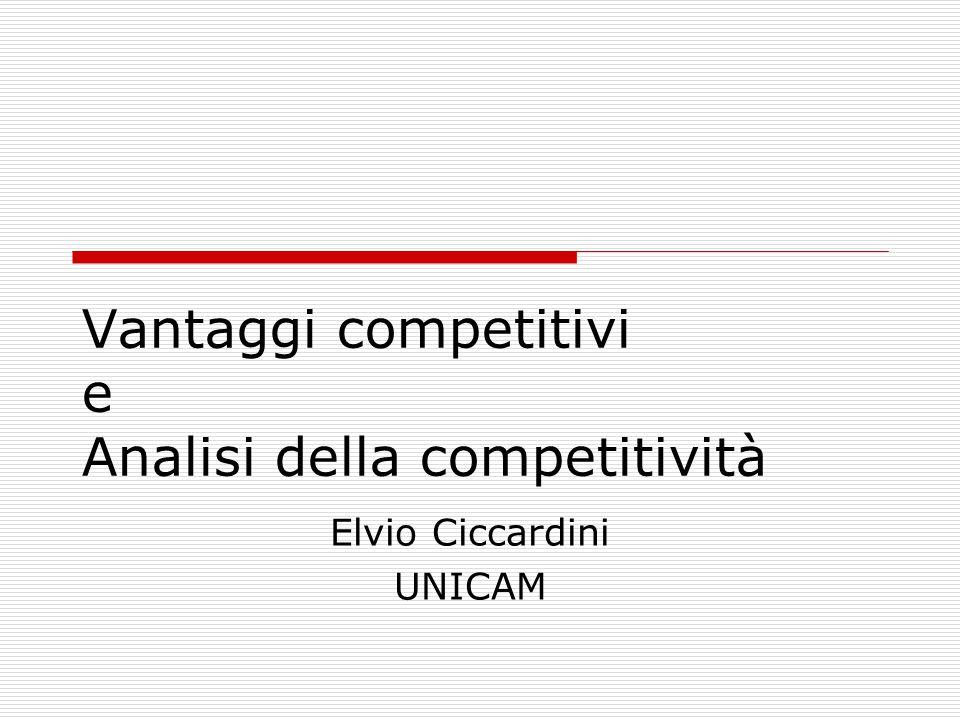 Vantaggi competitivi e Analisi della competitività Elvio Ciccardini UNICAM
