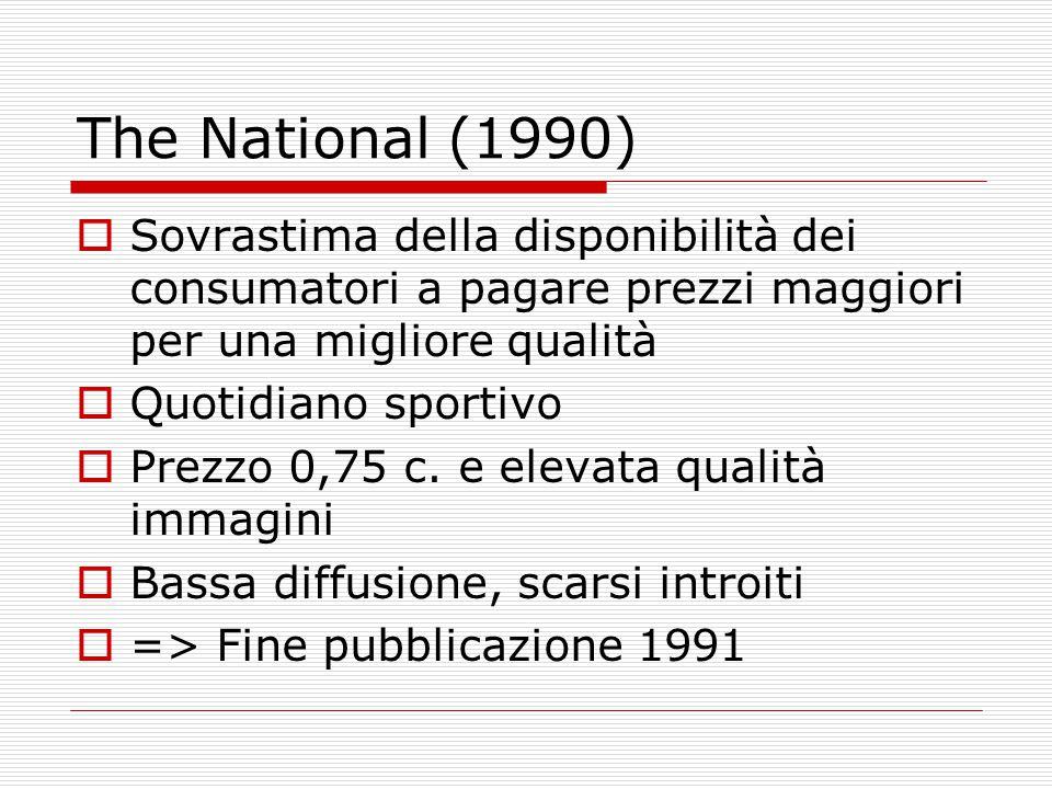 The National (1990)  Sovrastima della disponibilità dei consumatori a pagare prezzi maggiori per una migliore qualità  Quotidiano sportivo  Prezzo 0,75 c.