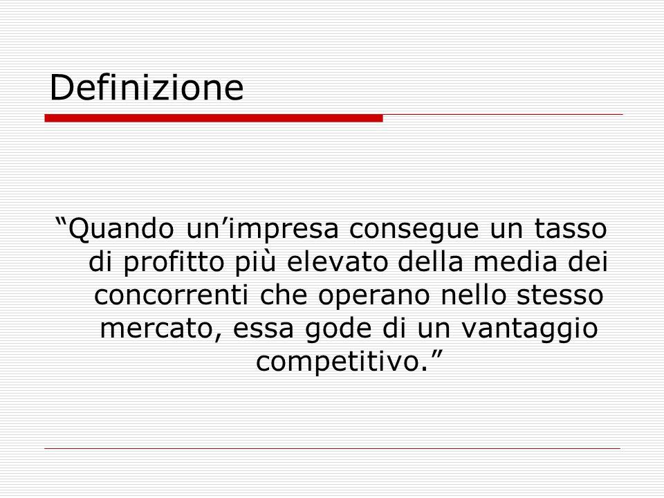 Definizione Quando un'impresa consegue un tasso di profitto più elevato della media dei concorrenti che operano nello stesso mercato, essa gode di un vantaggio competitivo.