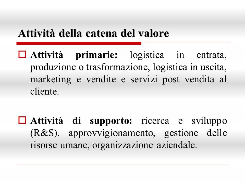 Attività della catena del valore  Attività primarie: logistica in entrata, produzione o trasformazione, logistica in uscita, marketing e vendite e servizi post vendita al cliente.