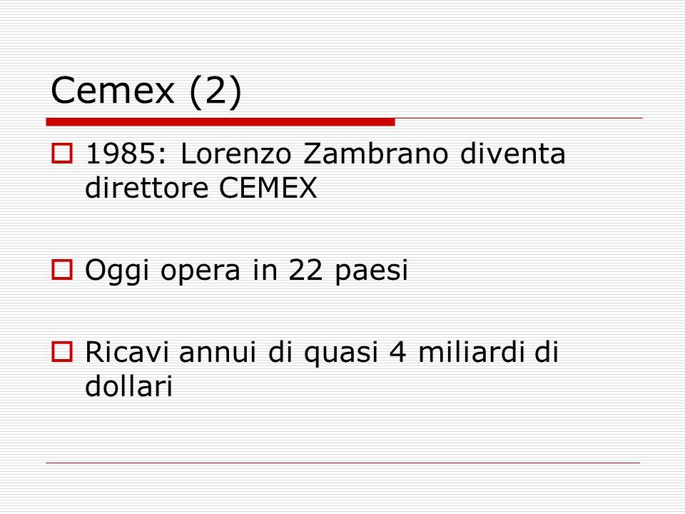 Cemex (2)  1985: Lorenzo Zambrano diventa direttore CEMEX  Oggi opera in 22 paesi  Ricavi annui di quasi 4 miliardi di dollari