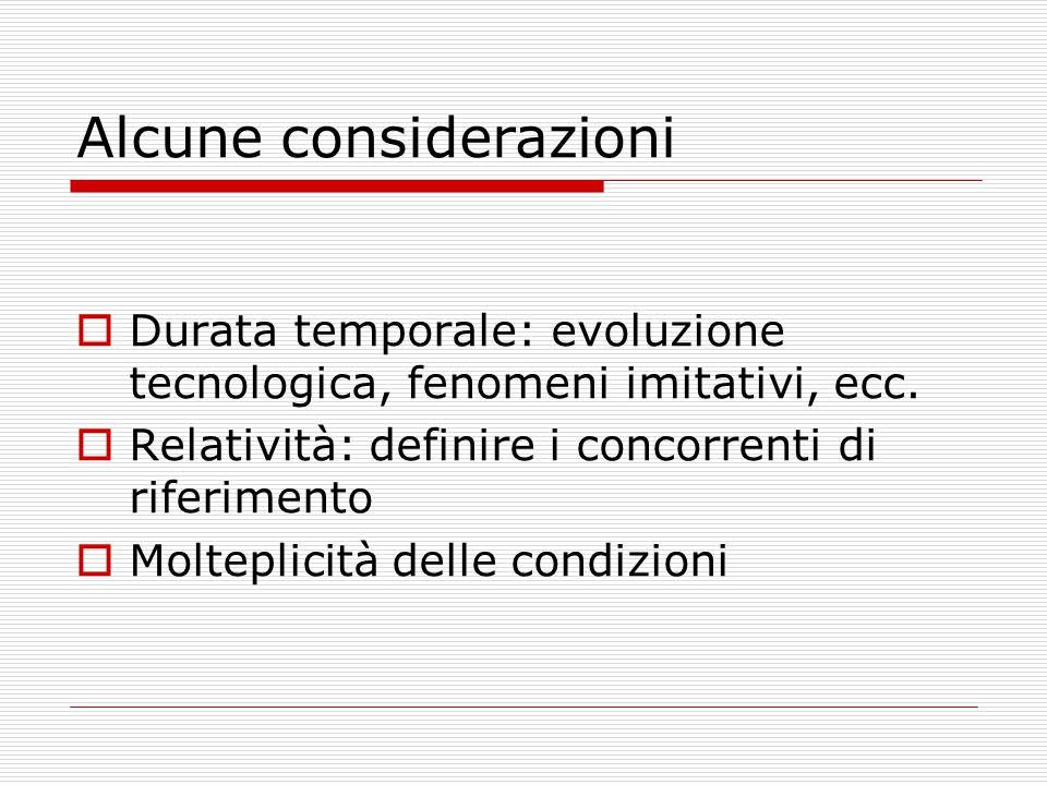 Alcune considerazioni  Durata temporale: evoluzione tecnologica, fenomeni imitativi, ecc.