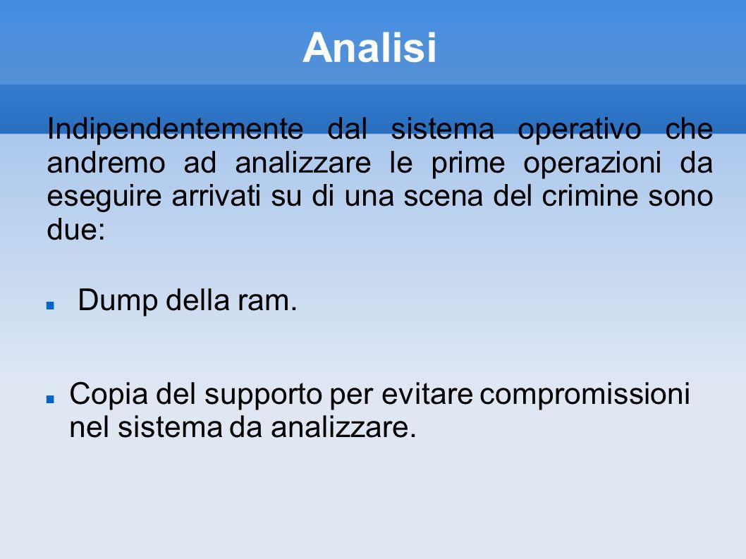 Analisi Dump della ram.Copia del supporto per evitare compromissioni nel sistema da analizzare.