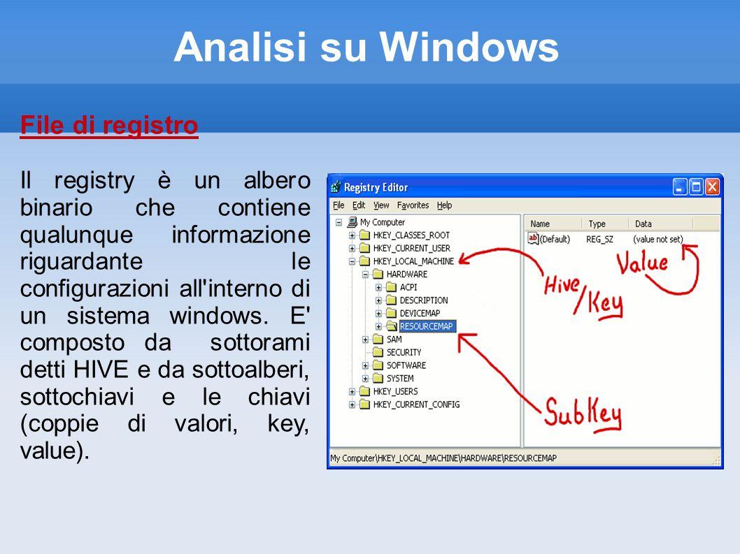 Analisi su Windows File di registro Il registry è un albero binario che contiene qualunque informazione riguardante le configurazioni all interno di un sistema windows.