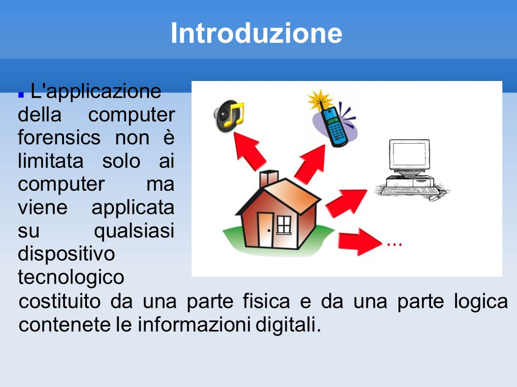 Introduzione L applicazione della computer forensics non è limitata solo ai computer ma viene applicata su qualsiasi dispositivo tecnologico costituito da una parte fisica e da una parte logica contenete le informazioni digitali.
