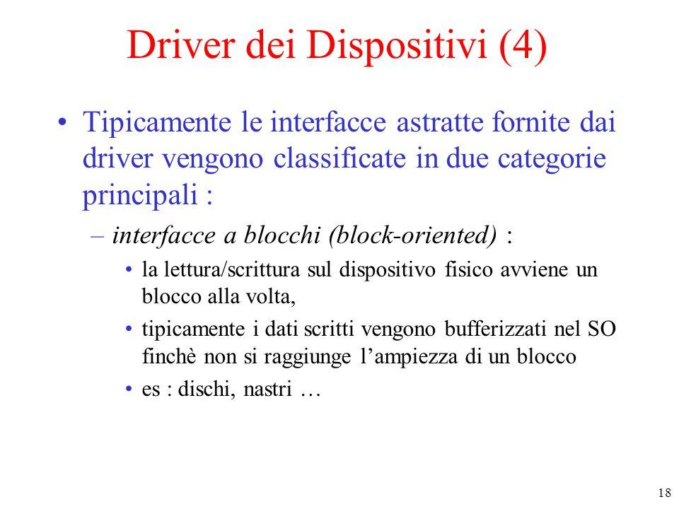18 Driver dei Dispositivi (4) Tipicamente le interfacce astratte fornite dai driver vengono classificate in due categorie principali : –interfacce a b