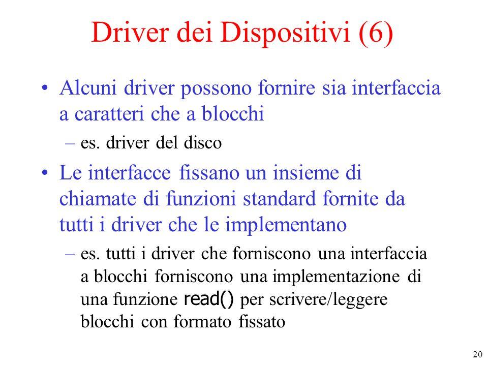 20 Driver dei Dispositivi (6) Alcuni driver possono fornire sia interfaccia a caratteri che a blocchi –es. driver del disco Le interfacce fissano un i