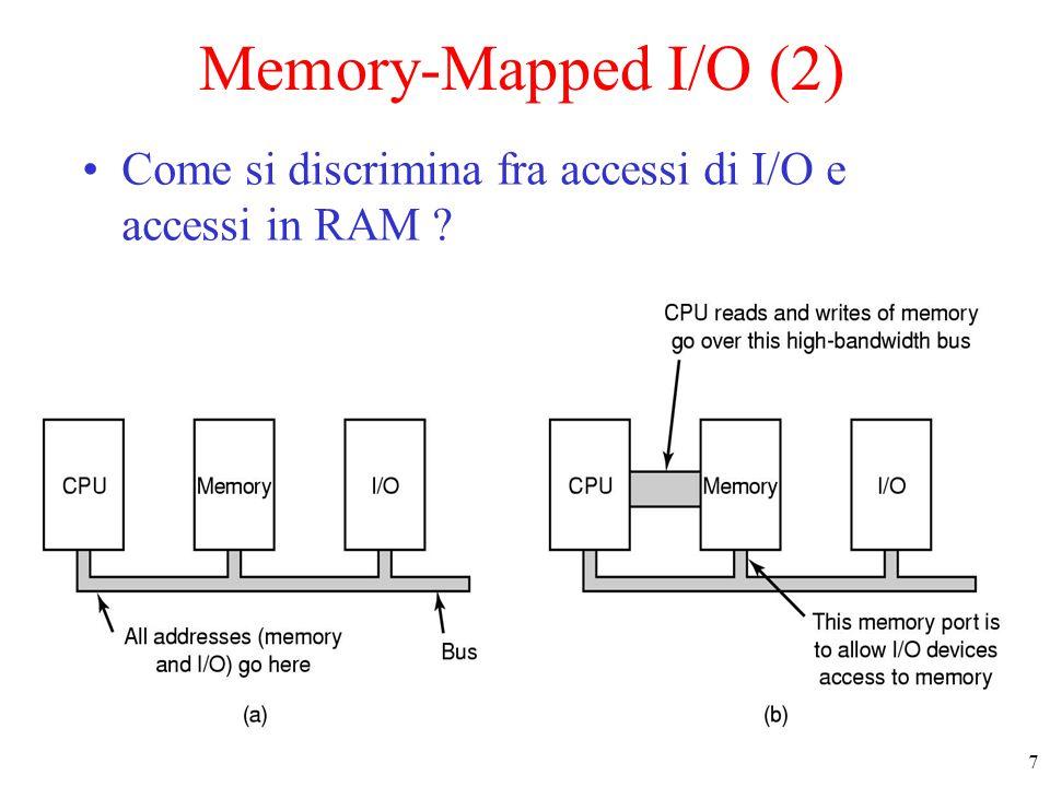 7 Memory-Mapped I/O (2) Come si discrimina fra accessi di I/O e accessi in RAM