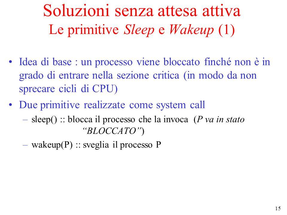 15 Soluzioni senza attesa attiva Le primitive Sleep e Wakeup (1) Idea di base : un processo viene bloccato finché non è in grado di entrare nella sezi