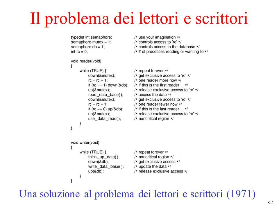 32 Il problema dei lettori e scrittori Una soluzione al problema dei lettori e scrittori (1971)