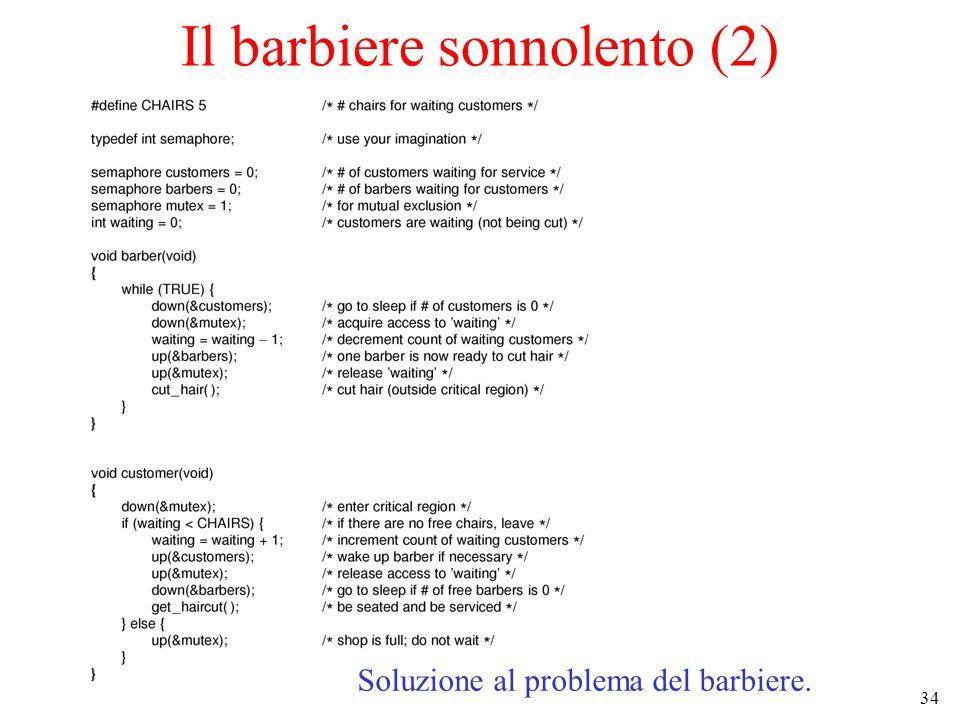 34 Il barbiere sonnolento (2) Soluzione al problema del barbiere.