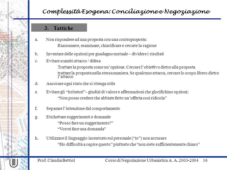 Complessità Esogena: Conciliazione e Negoziazione Prof. Claudia Bettiol Corso di Negoziazione Urbanistica A. A. 2003-200416 3.Tattiche a.Non risponder