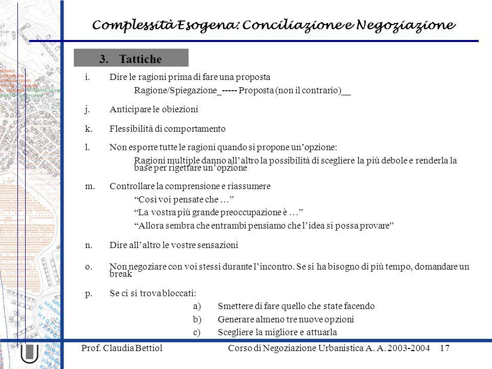Complessità Esogena: Conciliazione e Negoziazione Prof. Claudia Bettiol Corso di Negoziazione Urbanistica A. A. 2003-200417 3.Tattiche i.Dire le ragio