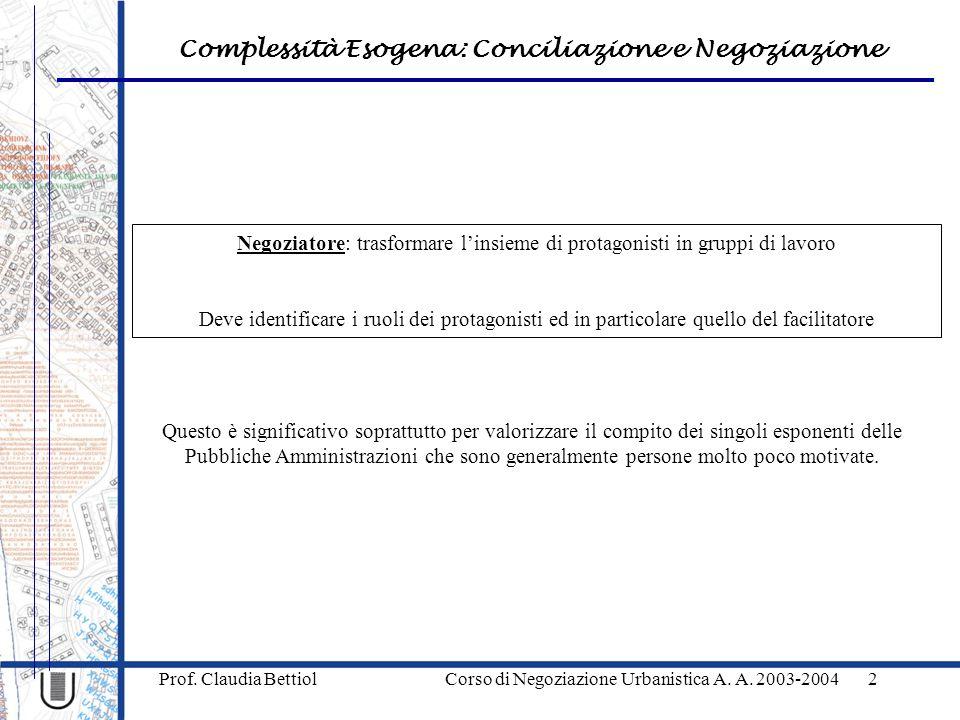 Complessità Esogena: Conciliazione e Negoziazione Prof. Claudia Bettiol Corso di Negoziazione Urbanistica A. A. 2003-20042 Negoziatore: trasformare l'