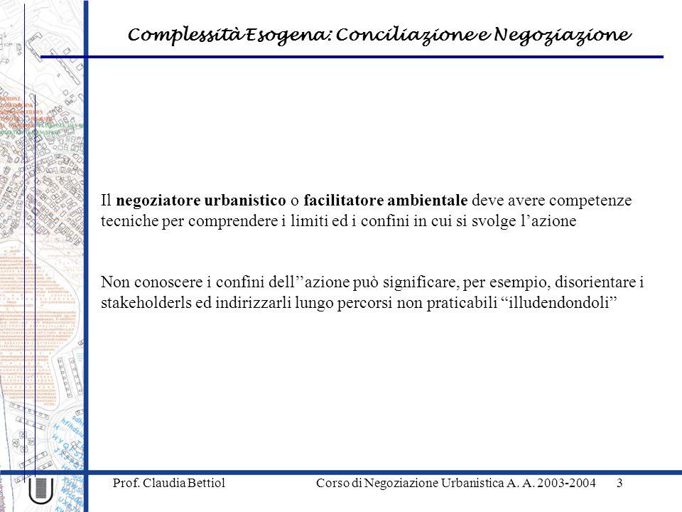 Complessità Esogena: Conciliazione e Negoziazione Prof. Claudia Bettiol Corso di Negoziazione Urbanistica A. A. 2003-20043 Il negoziatore urbanistico