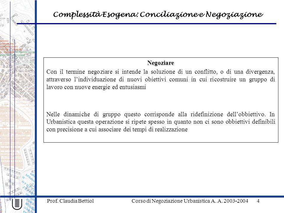 Complessità Esogena: Conciliazione e Negoziazione Prof. Claudia Bettiol Corso di Negoziazione Urbanistica A. A. 2003-20044 Negoziare Con il termine ne