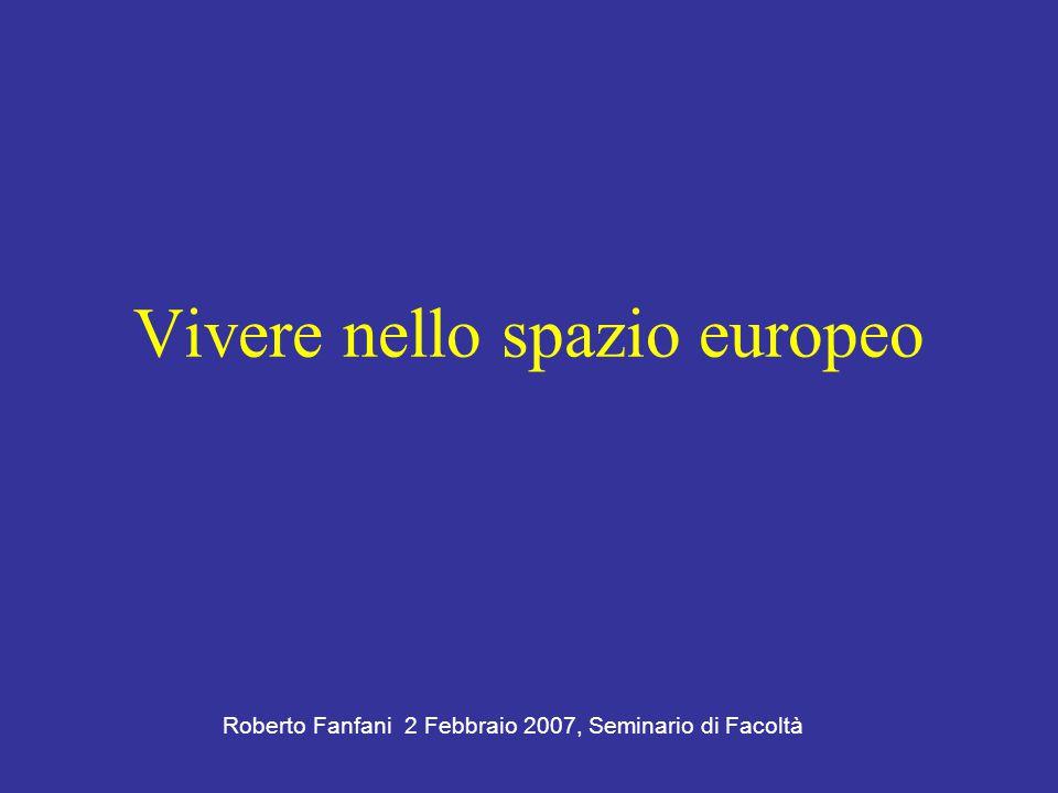 Vivere nello spazio europeo Roberto Fanfani 2 Febbraio 2007, Seminario di Facoltà