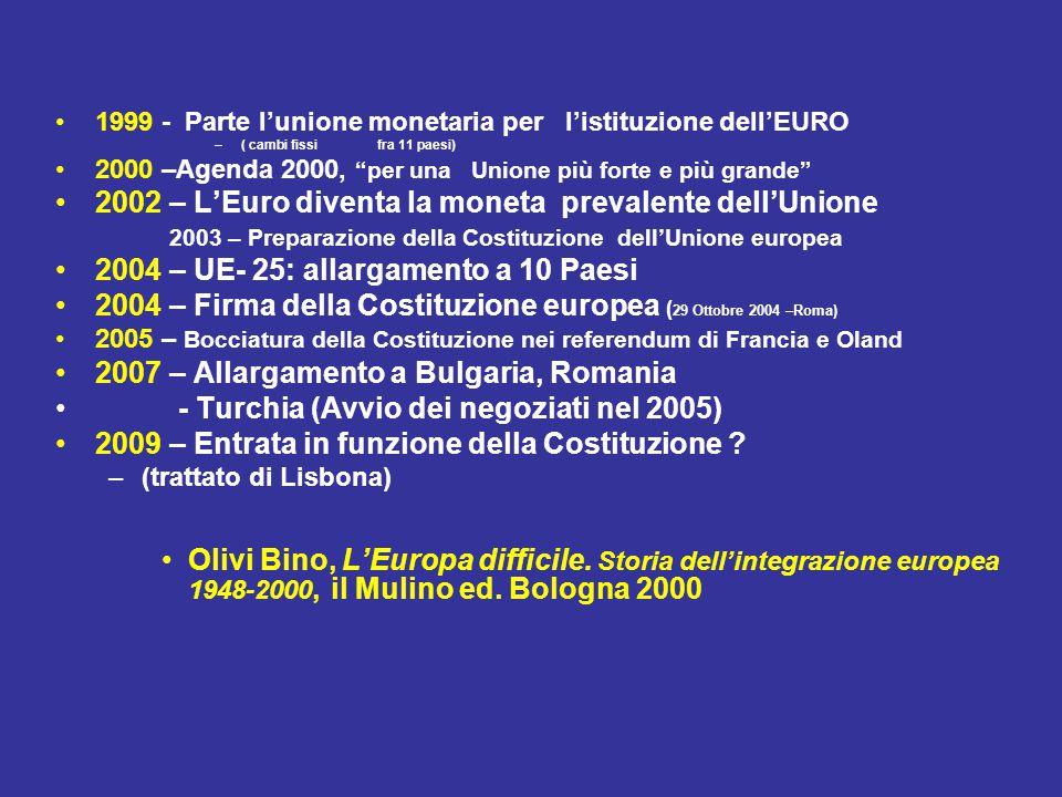 1999 - Parte l'unione monetaria per l'istituzione dell'EURO –( cambi fissi fra 11 paesi) 2000 –Agenda 2000, per una Unione più forte e più grande 2002 – L'Euro diventa la moneta prevalente dell'Unione 2003 – Preparazione della Costituzione dell'Unione europea 2004 – UE- 25: allargamento a 10 Paesi 2004 – Firma della Costituzione europea ( 29 Ottobre 2004 –Roma) 2005 – Bocciatura della Costituzione nei referendum di Francia e Oland 2007 – Allargamento a Bulgaria, Romania - Turchia (Avvio dei negoziati nel 2005) 2009 – Entrata in funzione della Costituzione .