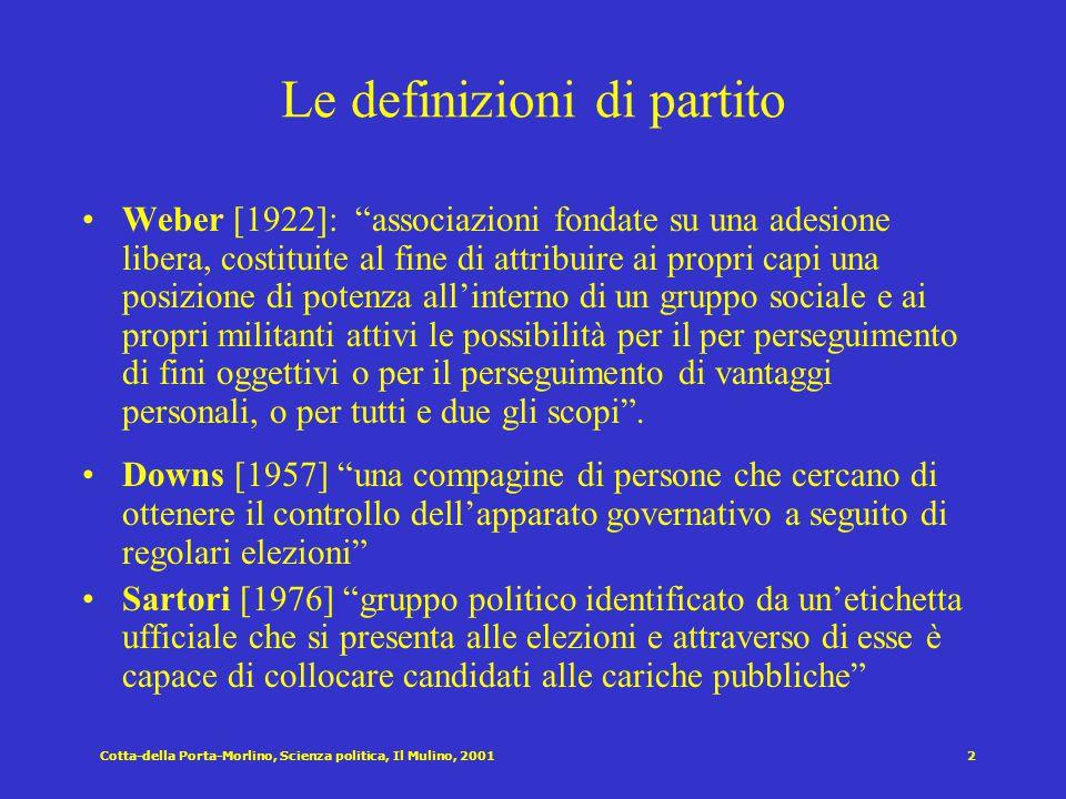 Cotta-della Porta-Morlino, Scienza politica, Il Mulino, 20012 Le definizioni di partito Weber [1922]: associazioni fondate su una adesione libera, costituite al fine di attribuire ai propri capi una posizione di potenza all'interno di un gruppo sociale e ai propri militanti attivi le possibilità per il per perseguimento di fini oggettivi o per il perseguimento di vantaggi personali, o per tutti e due gli scopi .