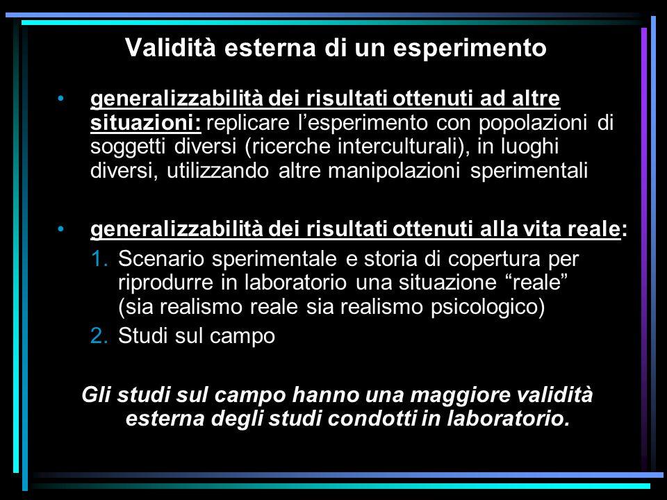 Validità esterna di un esperimento generalizzabilità dei risultati ottenuti ad altre situazioni: replicare l'esperimento con popolazioni di soggetti d