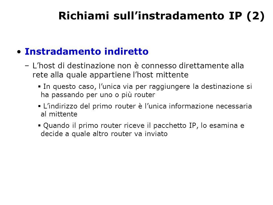 Richiami sull'instradamento IP (2) Instradamento indiretto –L'host di destinazione non è connesso direttamente alla rete alla quale appartiene l'host