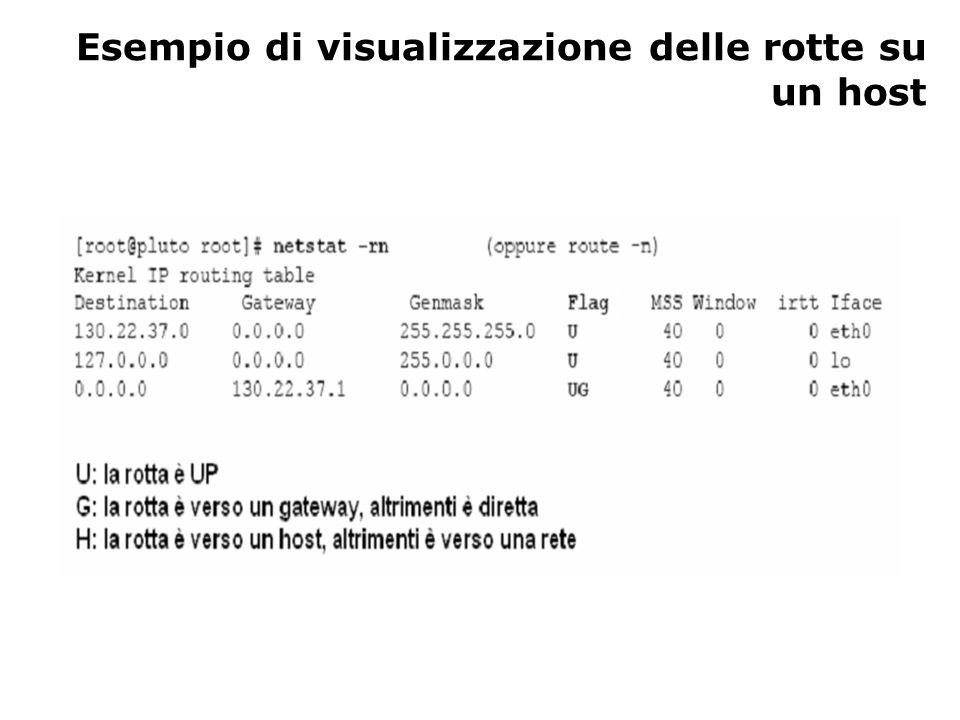 Esempio di visualizzazione delle rotte su un host