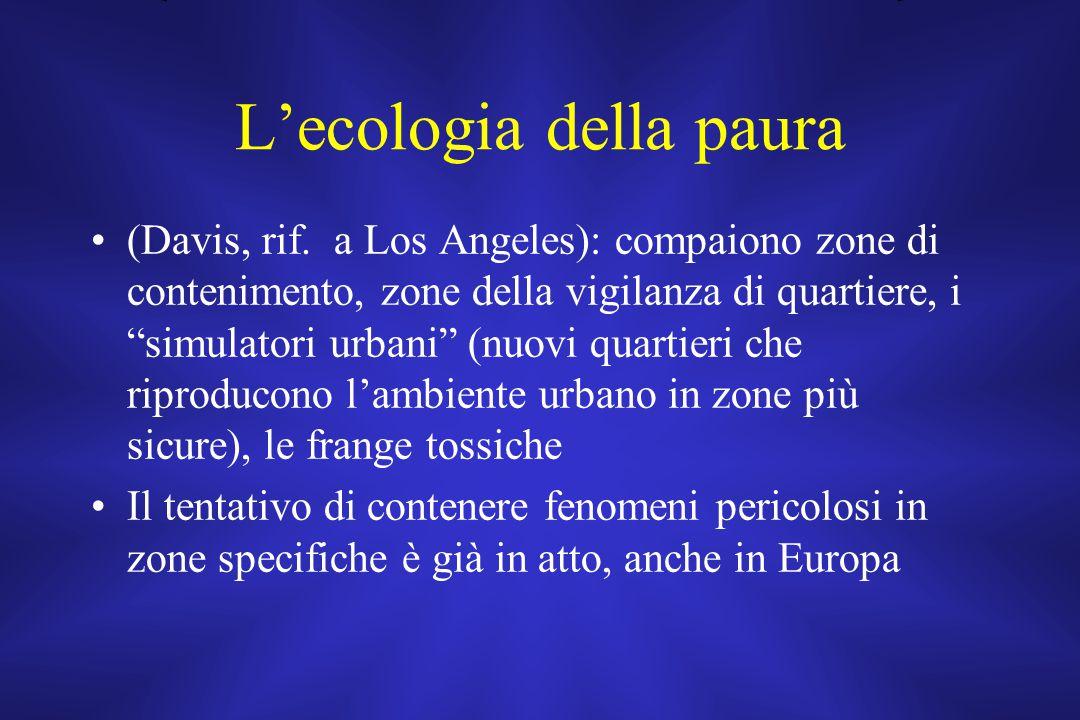 """L'ecologia della paura (Davis, rif. a Los Angeles): compaiono zone di contenimento, zone della vigilanza di quartiere, i """"simulatori urbani"""" (nuovi qu"""