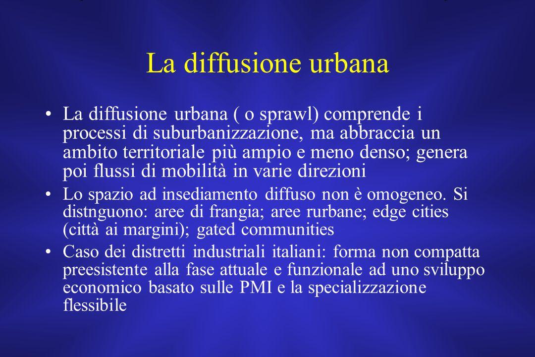 La diffusione urbana La diffusione urbana ( o sprawl) comprende i processi di suburbanizzazione, ma abbraccia un ambito territoriale più ampio e meno denso; genera poi flussi di mobilità in varie direzioni Lo spazio ad insediamento diffuso non è omogeneo.