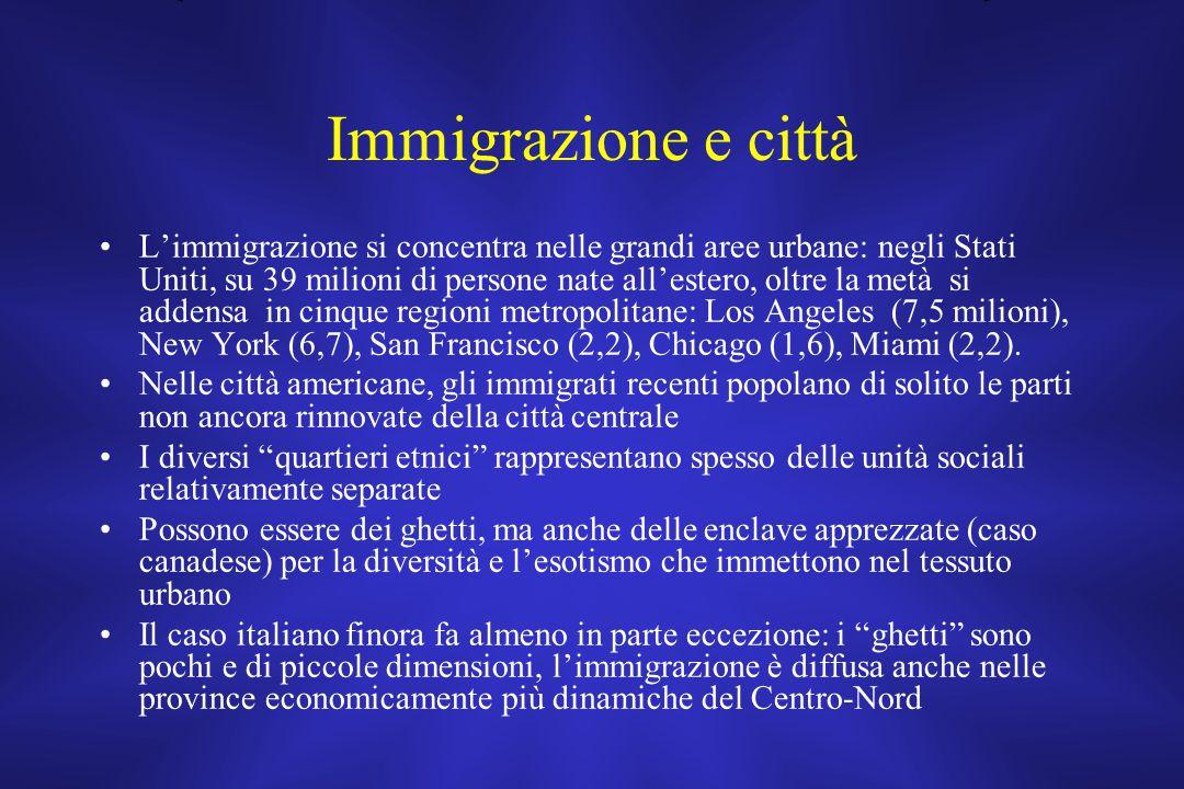 Immigrazione e città L'immigrazione si concentra nelle grandi aree urbane: negli Stati Uniti, su 39 milioni di persone nate all'estero, oltre la metà si addensa in cinque regioni metropolitane: Los Angeles (7,5 milioni), New York (6,7), San Francisco (2,2), Chicago (1,6), Miami (2,2).