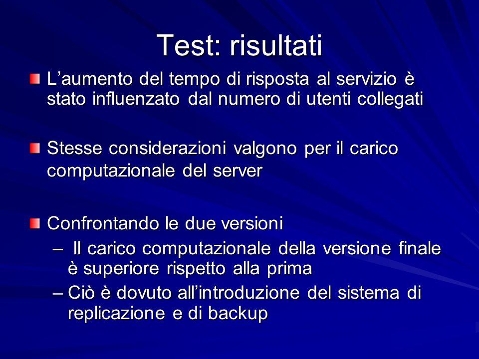 Test: risultati L'aumento del tempo di risposta al servizio è stato influenzato dal numero di utenti collegati Stesse considerazioni valgono per il ca