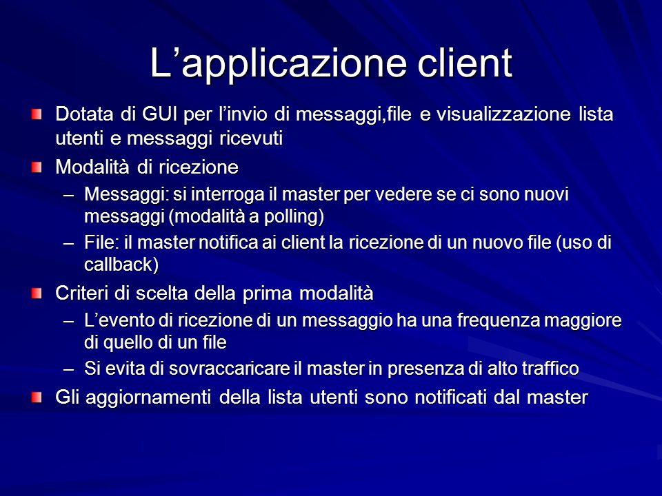 L'applicazione client Dotata di GUI per l'invio di messaggi,file e visualizzazione lista utenti e messaggi ricevuti Modalità di ricezione –Messaggi: s