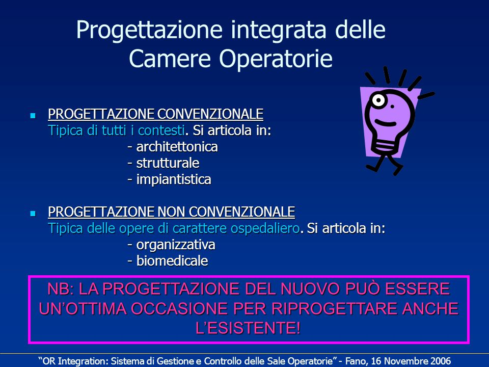 Progettazione integrata delle Camere Operatorie PROGETTAZIONE CONVENZIONALE PROGETTAZIONE CONVENZIONALE Tipica di tutti i contesti.