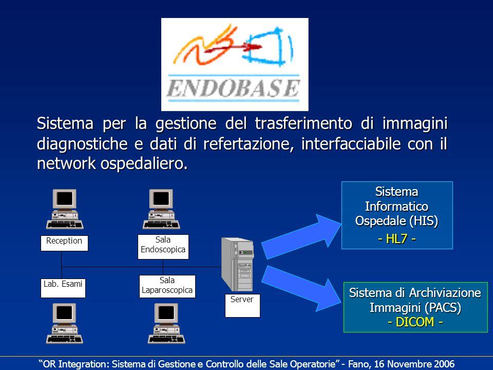 Sistema per la gestione del trasferimento di immagini diagnostiche e dati di refertazione, interfacciabile con il network ospedaliero.