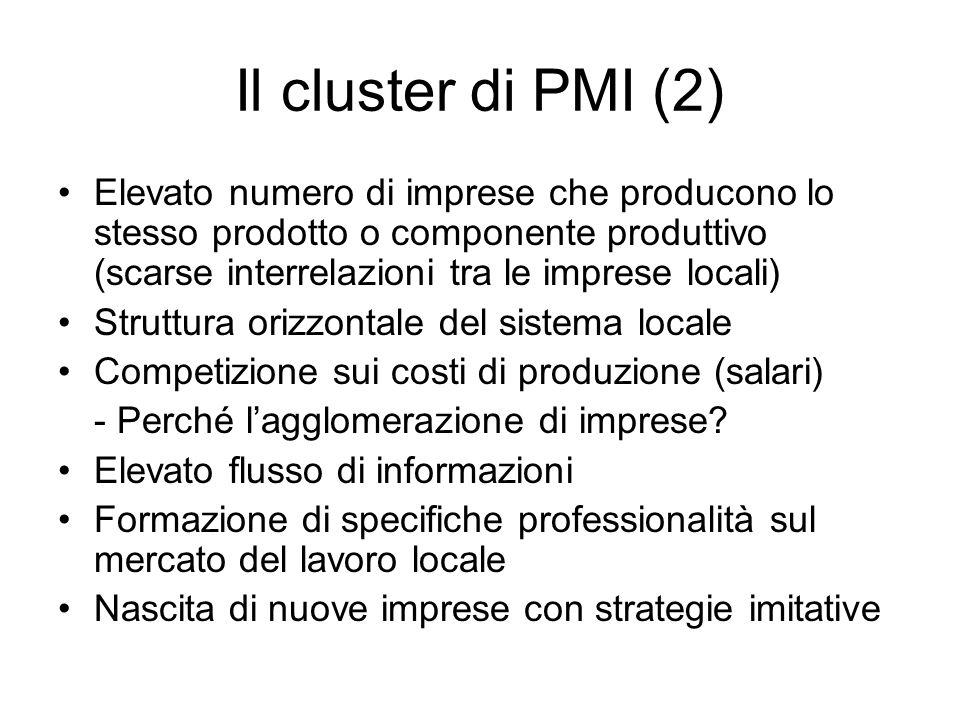 Il cluster di PMI (2) Elevato numero di imprese che producono lo stesso prodotto o componente produttivo (scarse interrelazioni tra le imprese locali) Struttura orizzontale del sistema locale Competizione sui costi di produzione (salari) - Perché l'agglomerazione di imprese.