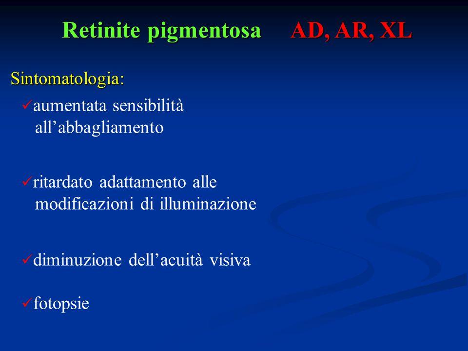 Retinite pigmentosa AD, AR, XL aumentata sensibilità all'abbagliamento ritardato adattamento alle modificazioni di illuminazione diminuzione dell'acui