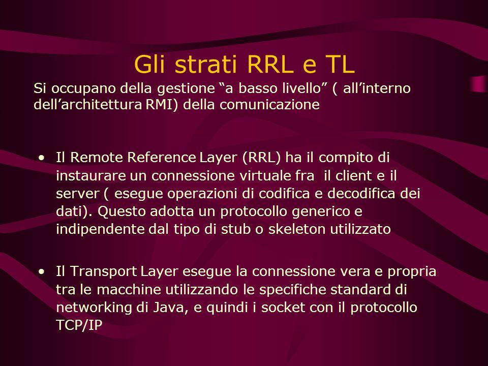 Gli strati RRL e TL Il Remote Reference Layer (RRL) ha il compito di instaurare un connessione virtuale fra il client e il server ( esegue operazioni di codifica e decodifica dei dati).