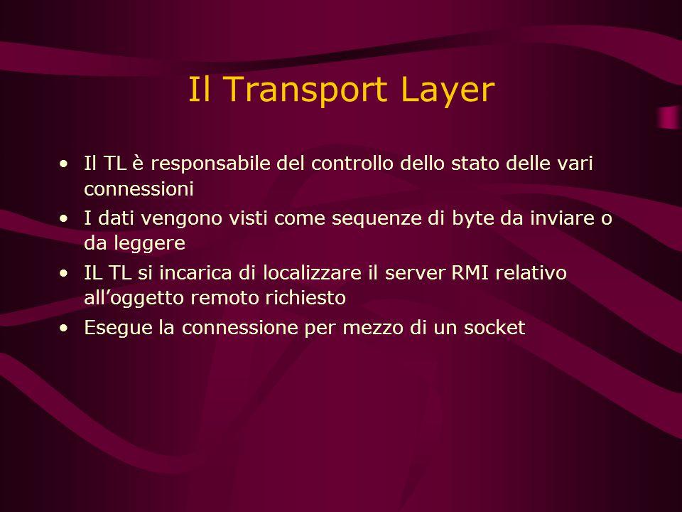 Il Transport Layer Il TL è responsabile del controllo dello stato delle vari connessioni I dati vengono visti come sequenze di byte da inviare o da leggere IL TL si incarica di localizzare il server RMI relativo all'oggetto remoto richiesto Esegue la connessione per mezzo di un socket