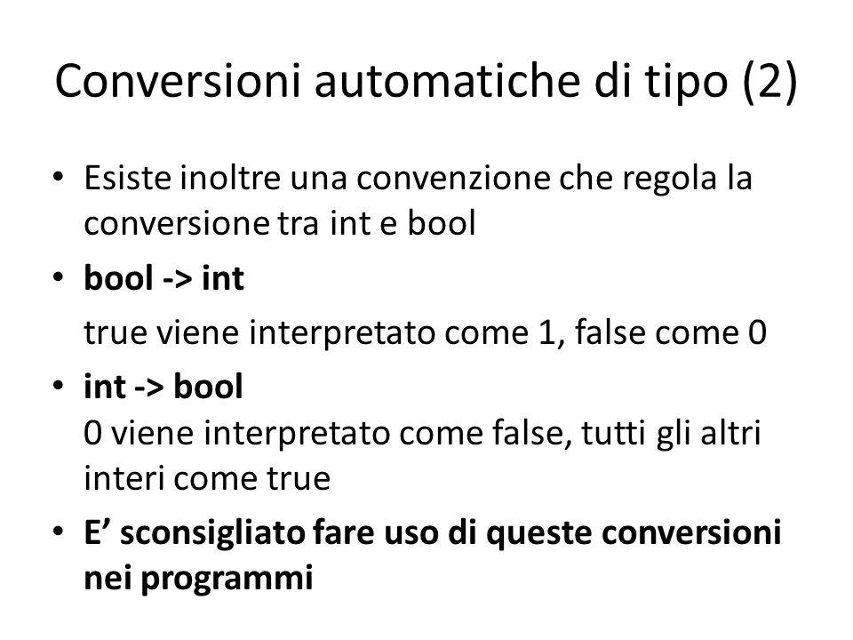 Conversioni automatiche di tipo (2) Esiste inoltre una convenzione che regola la conversione tra int e bool bool -> int true viene interpretato come 1, false come 0 int -> bool 0 viene interpretato come false, tutti gli altri interi come true E' sconsigliato fare uso di queste conversioni nei programmi