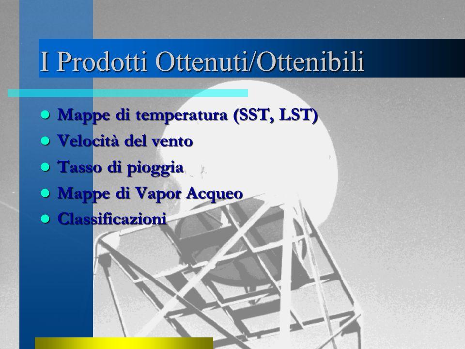 I Prodotti Ottenuti/Ottenibili Mappe di temperatura (SST, LST) Mappe di temperatura (SST, LST) Velocità del vento Velocità del vento Tasso di pioggia Tasso di pioggia Mappe di Vapor Acqueo Mappe di Vapor Acqueo Classificazioni Classificazioni