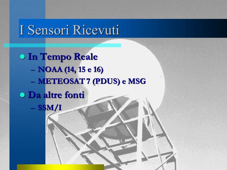 I Sensori Ricevuti In Tempo Reale In Tempo Reale –NOAA (14, 15 e 16) –METEOSAT 7 (PDUS) e MSG Da altre fonti Da altre fonti –SSM/I