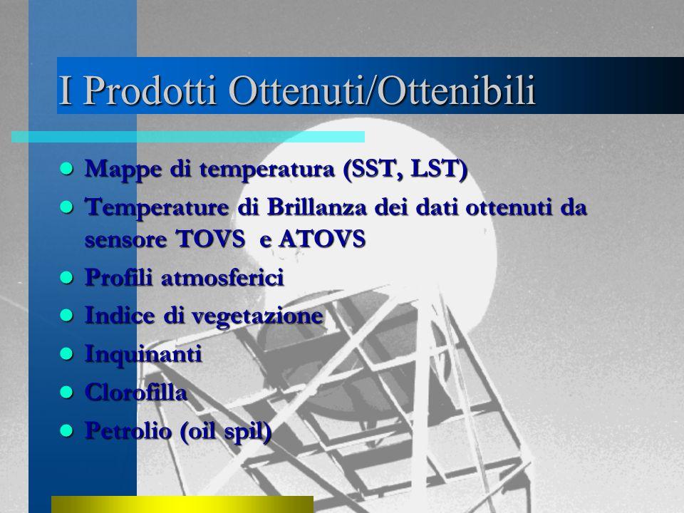 I Prodotti Ottenuti/Ottenibili Mappe di temperatura (SST, LST) Mappe di temperatura (SST, LST) Temperature di Brillanza dei dati ottenuti da sensore TOVS e ATOVS Temperature di Brillanza dei dati ottenuti da sensore TOVS e ATOVS Profili atmosferici Profili atmosferici Indice di vegetazione Indice di vegetazione Inquinanti Inquinanti Clorofilla Clorofilla Petrolio (oil spil) Petrolio (oil spil)