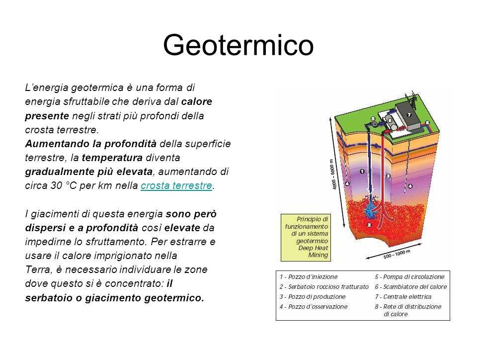 Geotermico L'energia geotermica è una forma di energia sfruttabile che deriva dal calore presente negli strati più profondi della crosta terrestre. Au