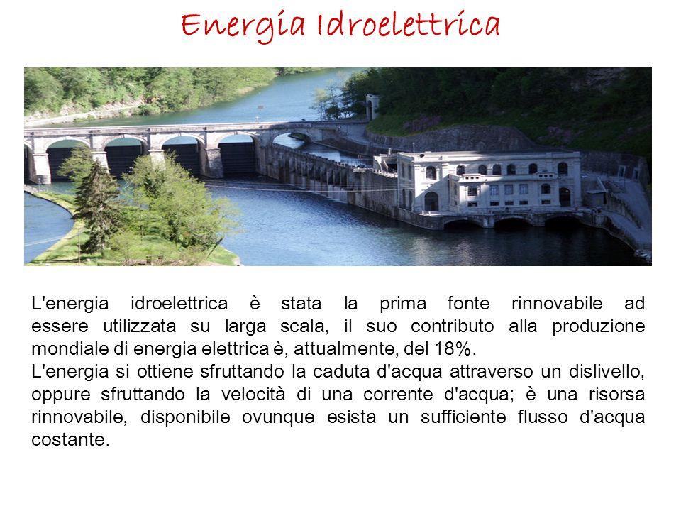 Energia Idroelettrica L'energia idroelettrica è stata la prima fonte rinnovabile ad essere utilizzata su larga scala, il suo contributo alla produzion