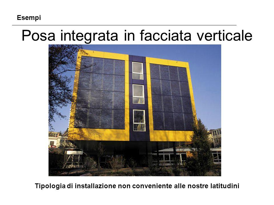 Posa integrata in facciata verticale Tipologia di installazione non conveniente alle nostre latitudini Esempi