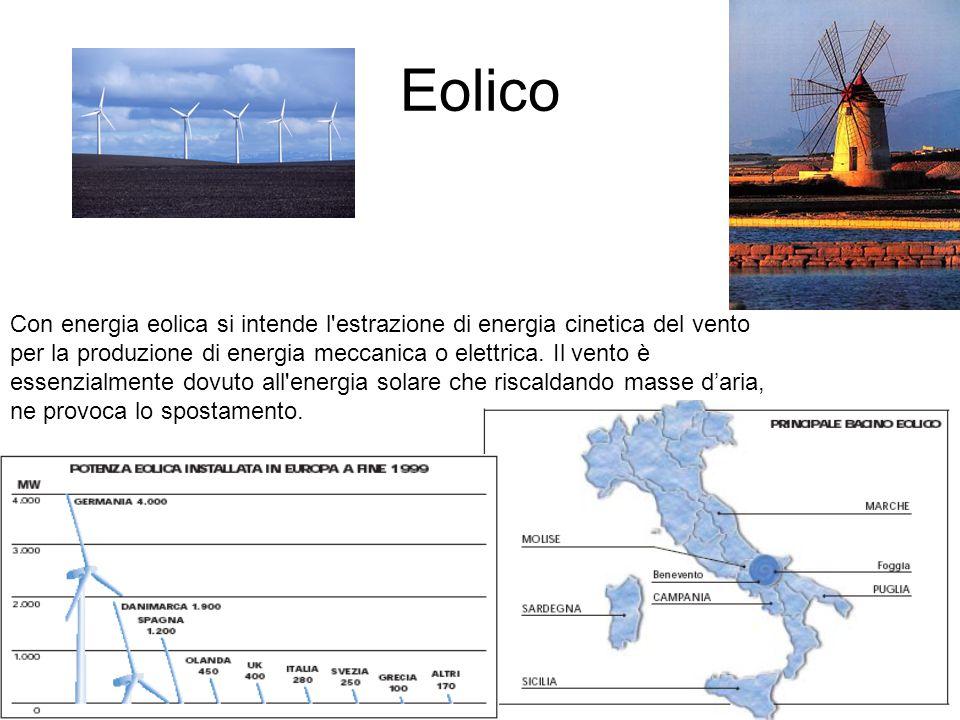 Eolico Con energia eolica si intende l'estrazione di energia cinetica del vento per la produzione di energia meccanica o elettrica. Il vento è essenzi